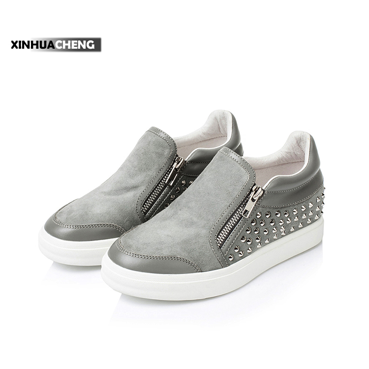 fashion slip-on double zipper elevator shoes