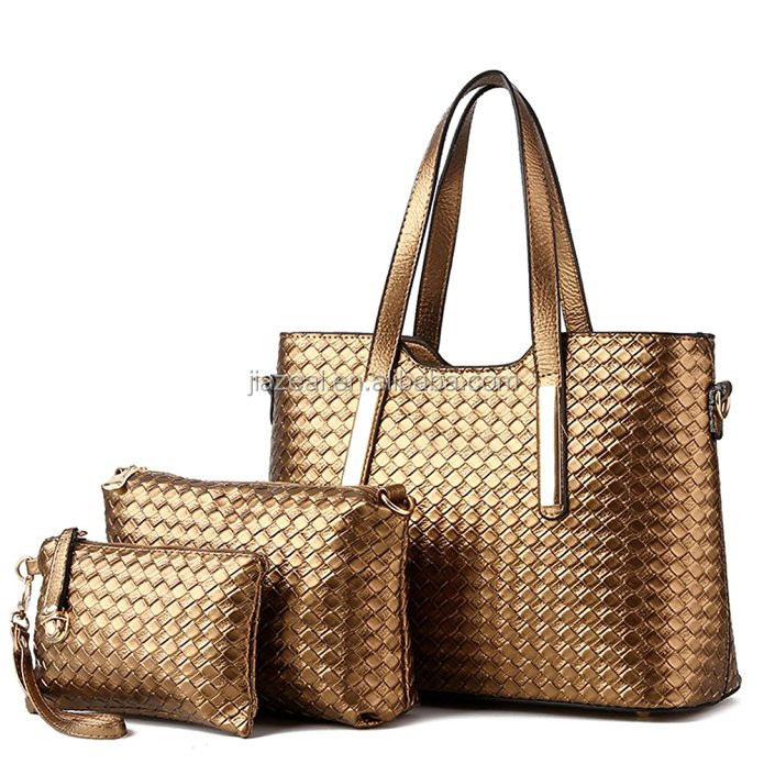 Women 3 Piece Tote Bag Pu Leather Weave Handbag Shoulder Purse Bags