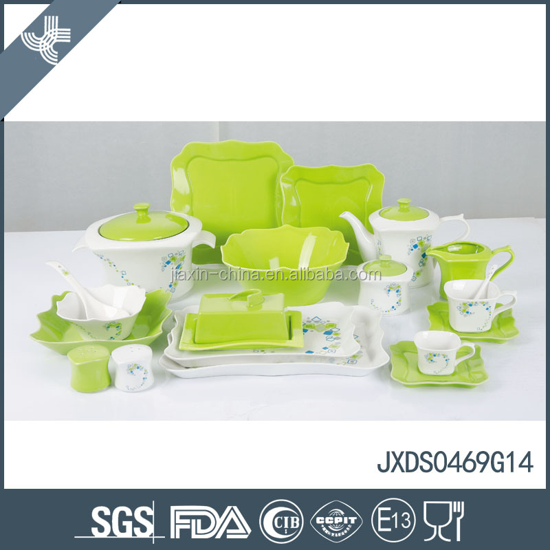 Wholesale 2015! New decorative dots design 69pcs fine porcelain square dinner set
