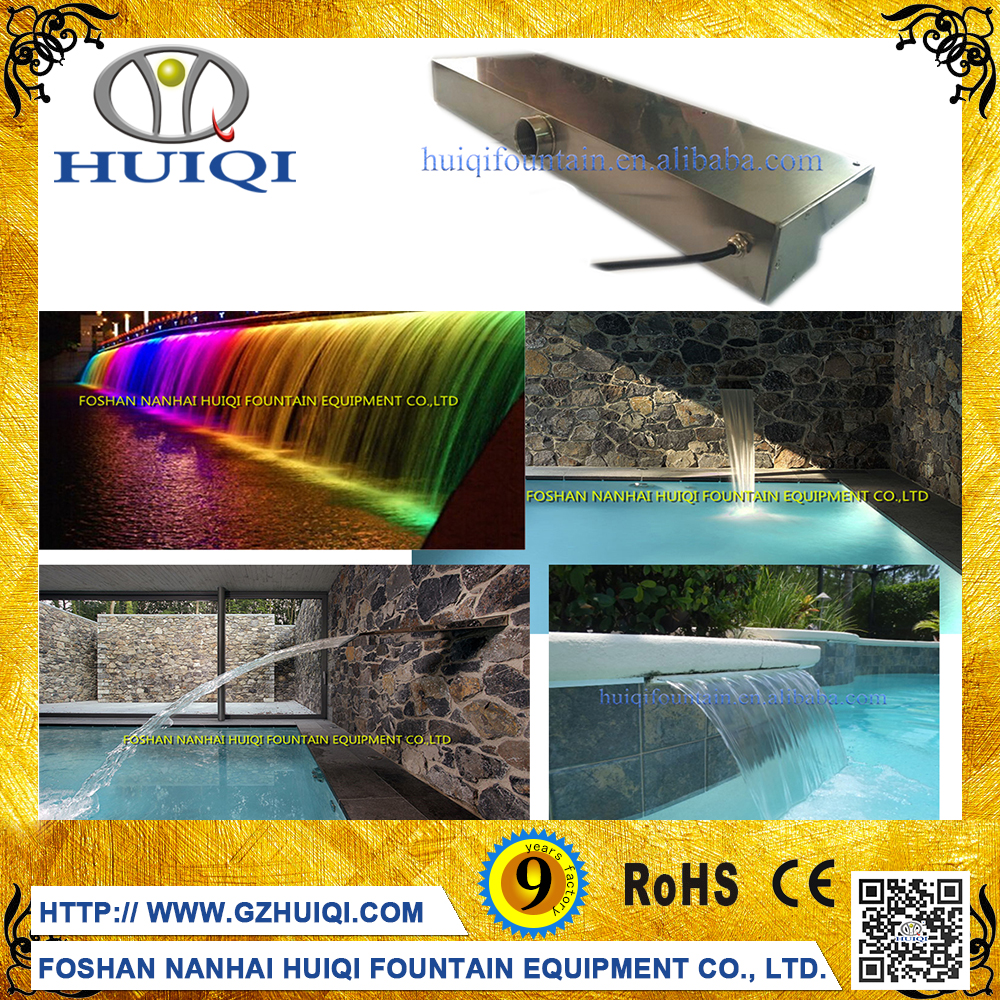 Outdoor Waterfalls Water Feature Glass Water Mounted Wall Curtain Fountain with LED Light