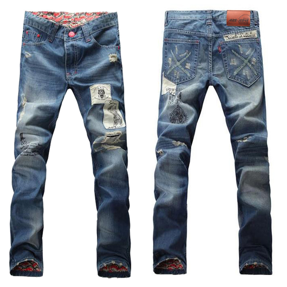 2015 Hot Mens Designer Jeans Famous Brand hole  Skinny pants For Men Robins Jeans True Religious Jeans mens overalls fashion