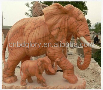 White Marble sunset glow red Elephant Indian Decor Lucky Good Fortune Figurine Sculpture