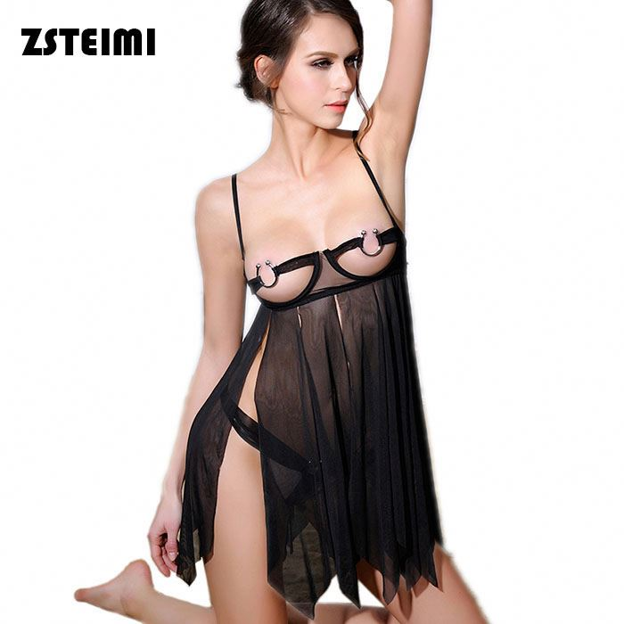 Hot Sexy Babydoll Lingerie Showing Nipples Long Tassels Import China Underwear