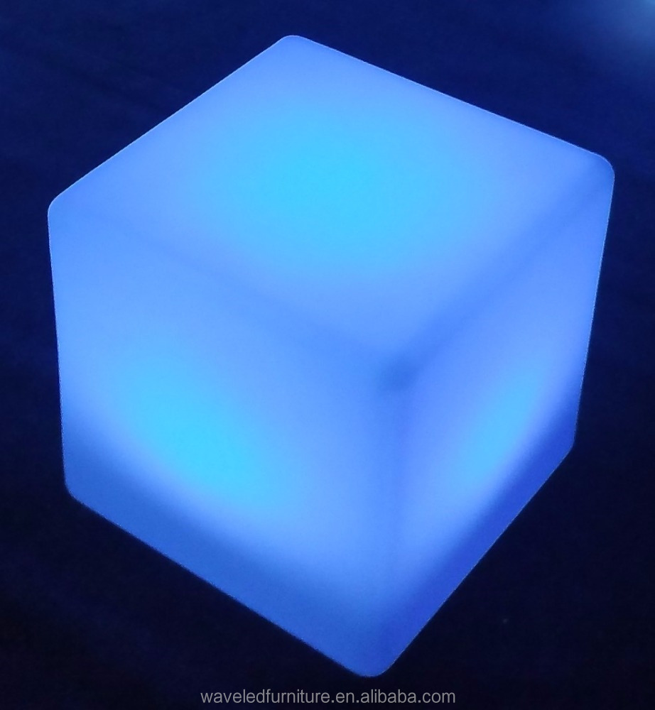Decoration waterproof illuminated cube chair color changing large plastic light up cube
