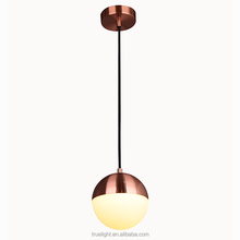modern metal pendant lamp with opal glass on chandelier ceiling
