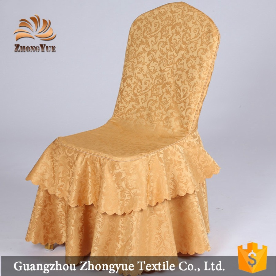 Factory cheap wedding party plain chair cover with skirt