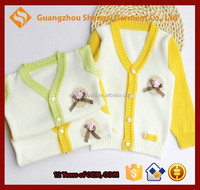 Children kids baby pearl decorated pin cardigan sweater