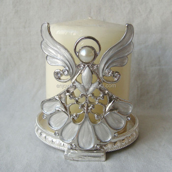 Silver Anger with Clear Crystals Metal Candle Holder(P02118t)