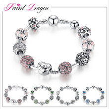 2017 aliexpress most hot jewelry 925 silver pink crystal charm bracelet love and flower beaded magic bracelet for women