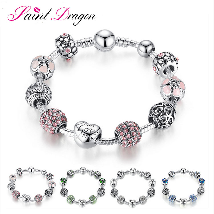Hot saling popular jewelry brand pink crystal charm bracelet love and flower beaded magic bracelet for women