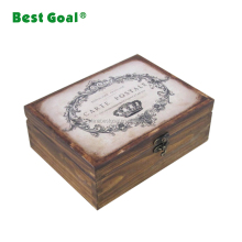 Wood antique wooden treasure chest jewelry box with lock