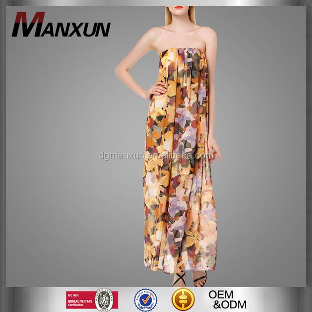 Top Fashion Boho style long puffy prom dresses Sexy Orange Floral Print Chiffon Tube Dress Prom Long Dress