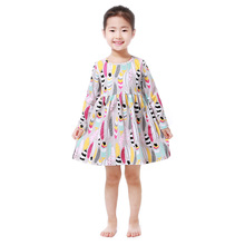 Colorful Feather Printed Latest Design Baby Frock for Little Girls
