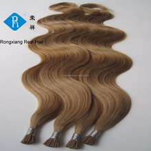 Wholesale natural human remy hair italian keratin i-tip wavy hair extension