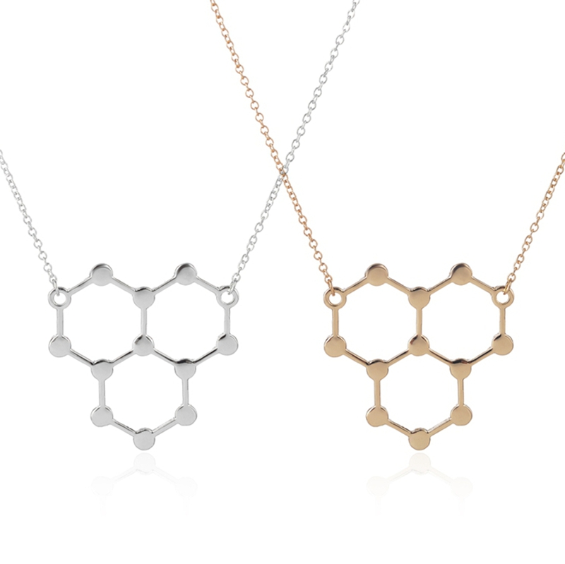 2016 New Fashion Trendy Ice hydro Molecule 14k gold brass unjal chain in chennai serotonin necklace wholesale