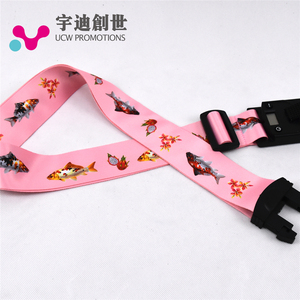 High quality custom logo and luggage strap with plastic buckle