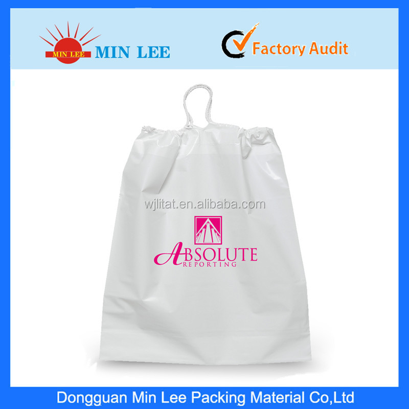high quality custom print drawstring plastic bags