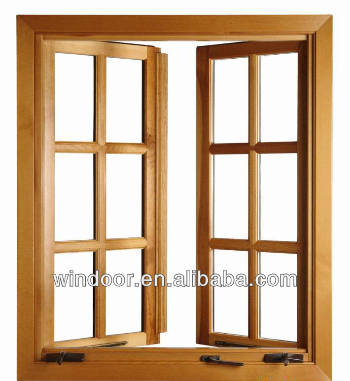 Qingdao grill design aluminum clad wood window wood color for Wood clad windows
