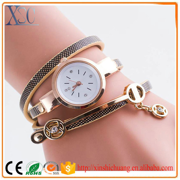 Fashion free western wrist watches ladies new thin leather band with pendant