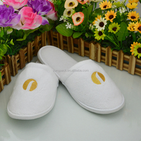 Wholesale High Quality Hotel Slippers SPA Velvet Slippers Terry Towel Slippers With Custom Embroidery Logo