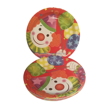 "7"" small round PE laminated water proof decorative kids birthday party disposable paper plates and trays"