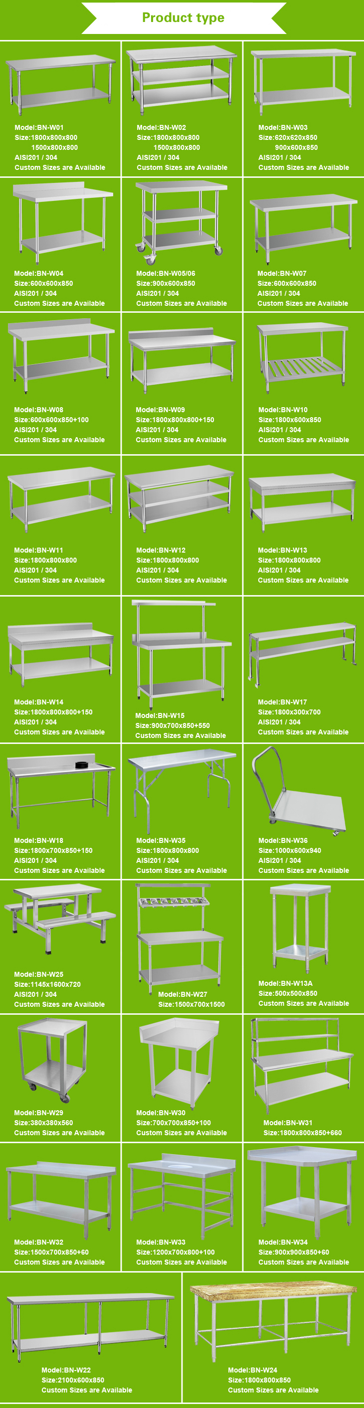 Easy Assembly Stainless Steel Restaurant Furniture Double Shelves Worktable/ Kitchen Centre Table