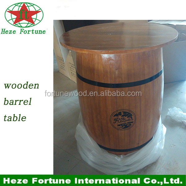 round barrel shape used wooden bar table