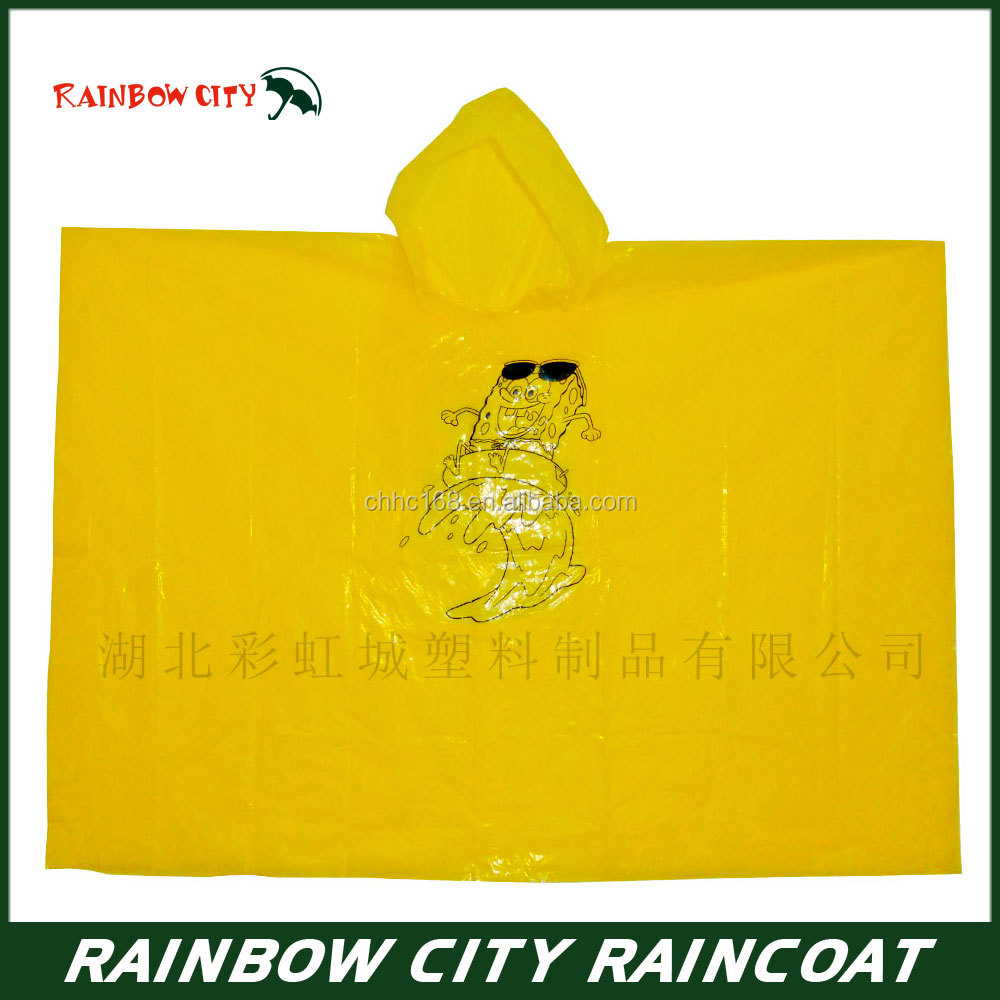 Disposable raincoat for kids waterproof poncho can print all kinds of pattern design