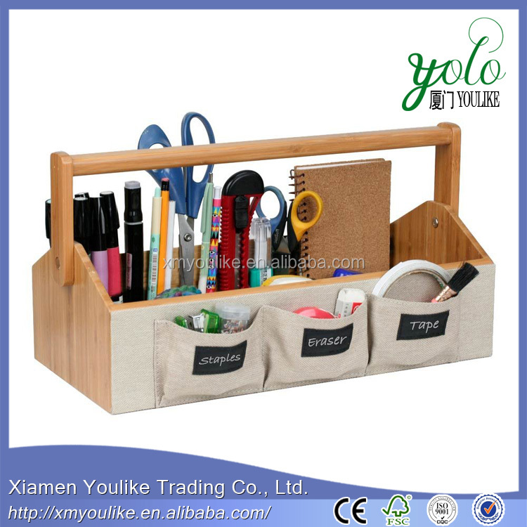 Eco-Friendly Bamboo Tool Caddy with Linen Pockets and Leatherette Labels