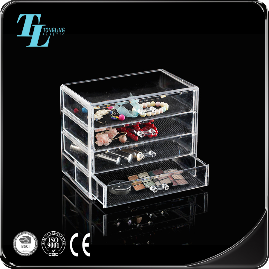 Hot Selling New Clear Makeup Jewelry Cosmetic Storage Display Box plastic Case Stand Rack Holder Organizer Boxes