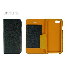 Real PU leather phone case with metal frame
