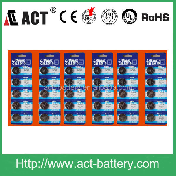 3V lithium battery CR2016 cell 5pcs in blister card packing