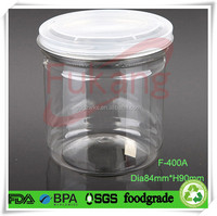 400ml PET clear peanut butter plastic jars,wide mouth round plastic cake food container,plastic baby bee honey bottle factory