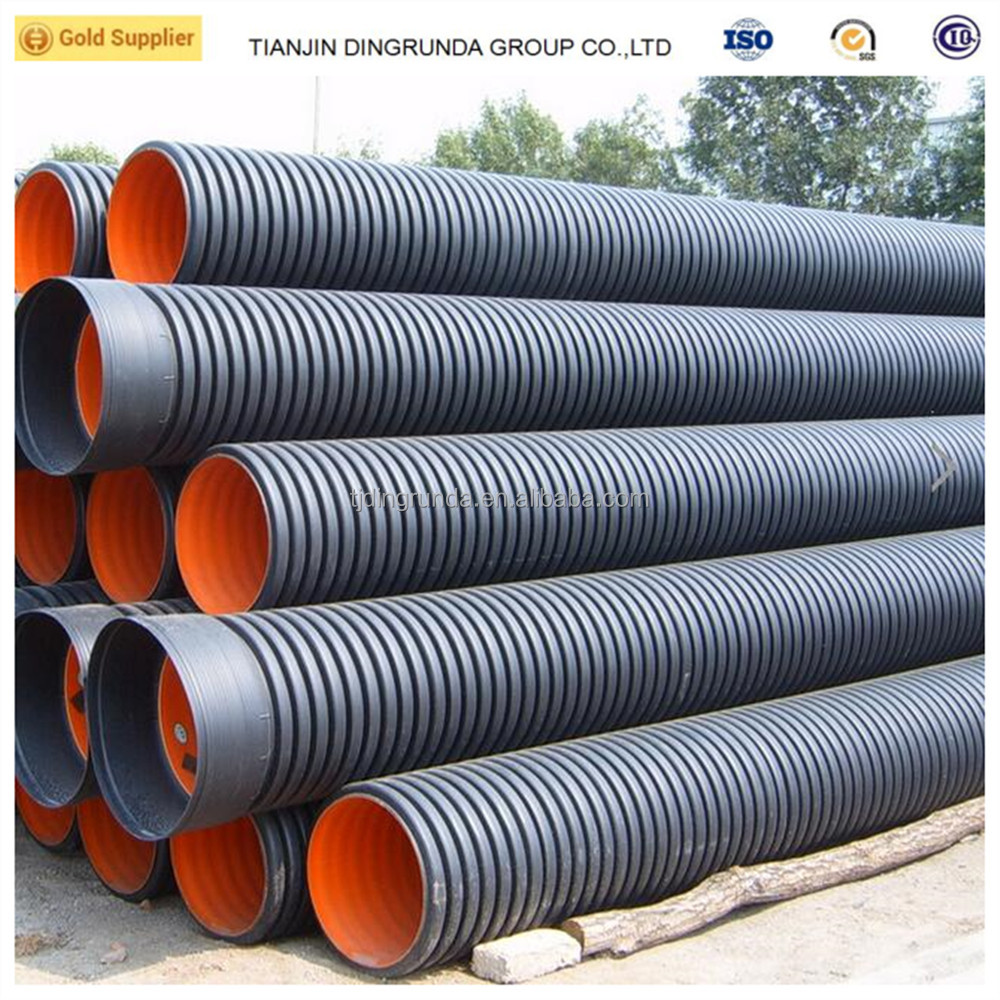 Colored HDPE double wall corrugated plastic drainage pipe
