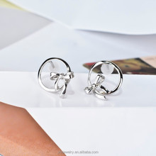 Platinum Plated Pure Sterling Silver Bowknot Stud Earrings