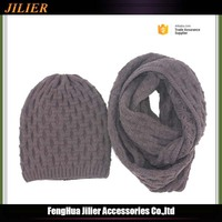 Acrylic knitted women winter wholesale hat and scarf sets