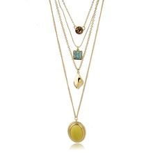 Multi layer necklace gemstone pendant jewelry chain necklace