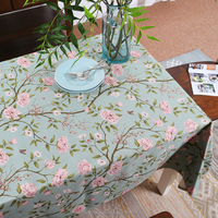 Hot selling cotton linen style Printed table cover cloth custom used tablecloths for sale creative heat resistant table cloth