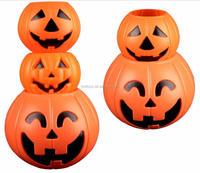 cheap Halloween LED small pumpkins lights hollow plastic pumpkin bucket Halloween led bucket