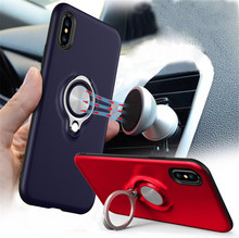 New 360 Rotate Finger Ring Phone Case Car Magnetic Stand Holder Back Cover for iPhone X 8 7 6S 6Plus