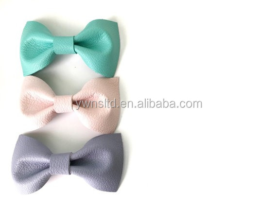 New Arrival factory directly sell hot sale pretty fashion pu leather fabric wholesale bow tie