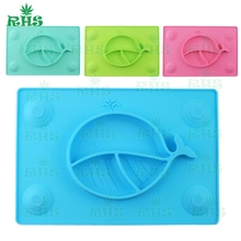 FDA approved one piece silicone placemat for kids silicone placemat plate for baby one-piece three section