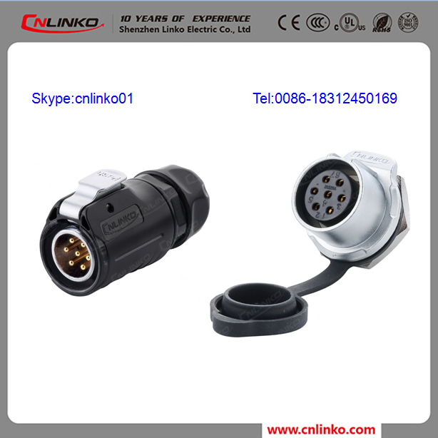 China CNLINKO seven contact connector pair for bulkhead mount waterproof 7-pin waterproof connector molded connector m20
