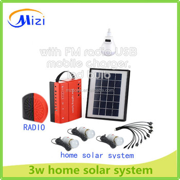 2014 new design Hot Selling 3W Portable solar lighting system for home solar lighting kit With Mobile Changer led bulb