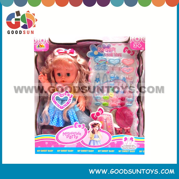 "Hot selling interesting 16"" Doll Toys plastic dolls with hairdressing set wholesale"
