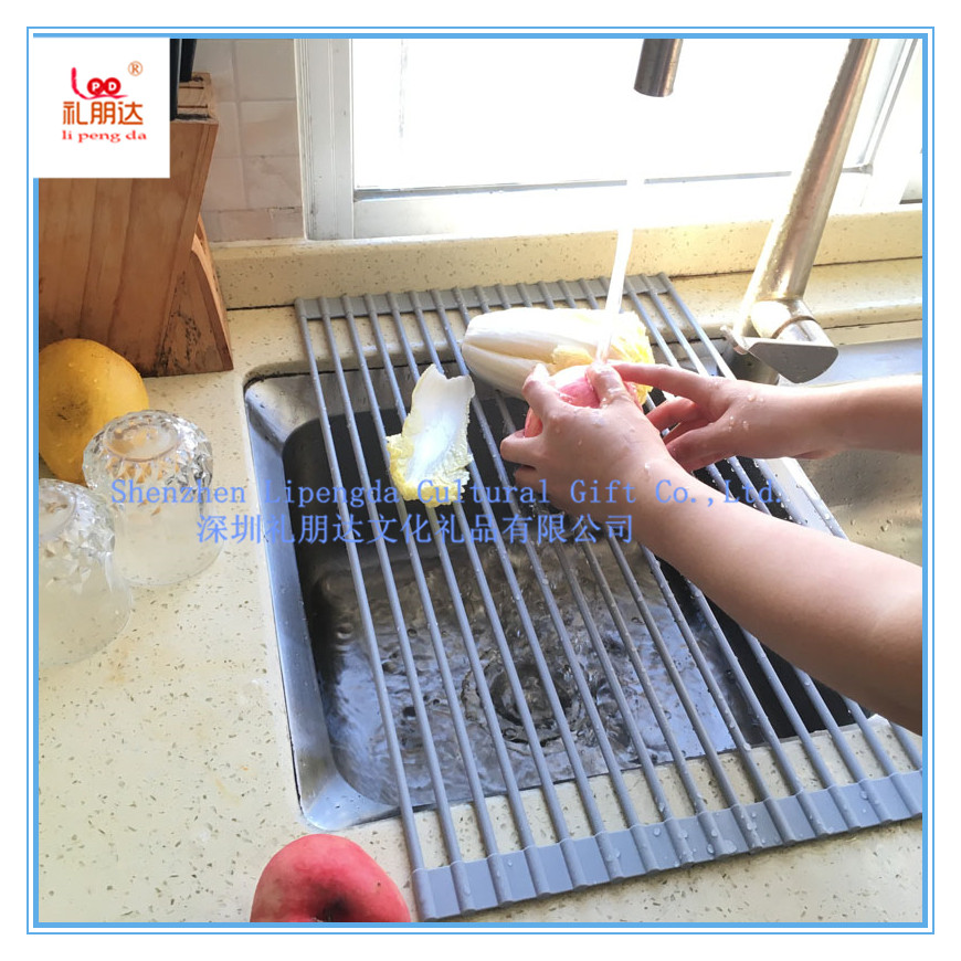 Silicone coated stainless steel kitchen foldable sink drainer dish drying mat