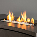 Reflective fire glass for fire pit fire table