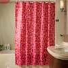 fashion red curved line thick PVC high quality printing shower curtain