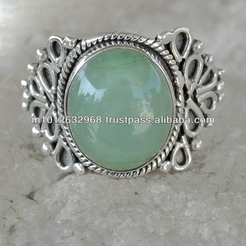 3.8 GM Rare Green Aventurine Gem Stone 925 Sterling Original Silver Ring