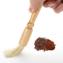 Round oak wood coffee machine cleaning <strong>brush</strong>